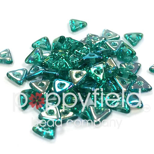 Czech Tri Beads, 4.6 mm, Emerald AB, 5 gm Tube