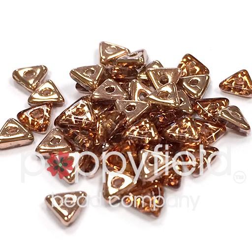 Czech Tri Beads, 4.6 mm, Crystal Capri Gold, 5 gm Tube