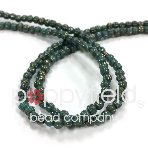 Czech Melon Rounds, 3 mm, Turquoise Bronze Picasso, 100 Beads per Strand