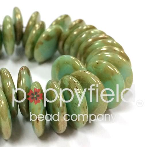 Czech Top-Hole Lentils, 12 mm, Mint Picasso, 50 pcs