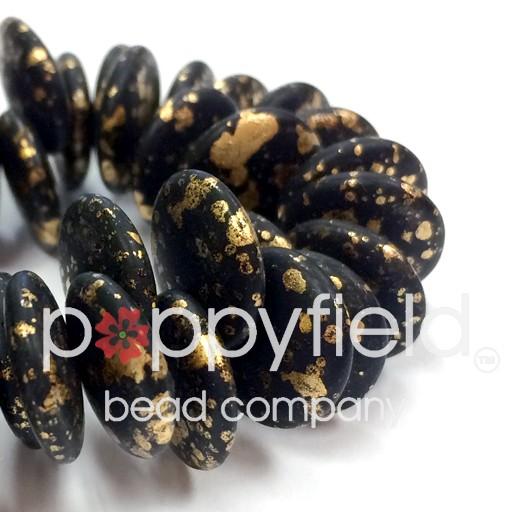 Czech Top-Hole Lentils, 12 mm, Crazy Gold Matte, 50 pcs
