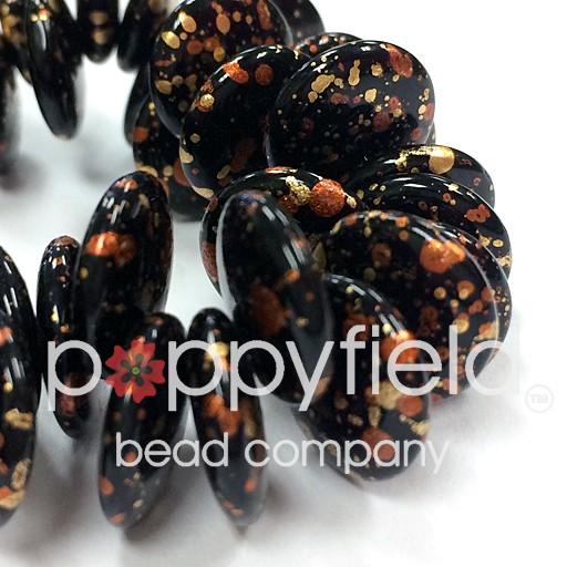 Czech Top-Hole Lentils, 12 mm, Crazy Copper, 50 pcs