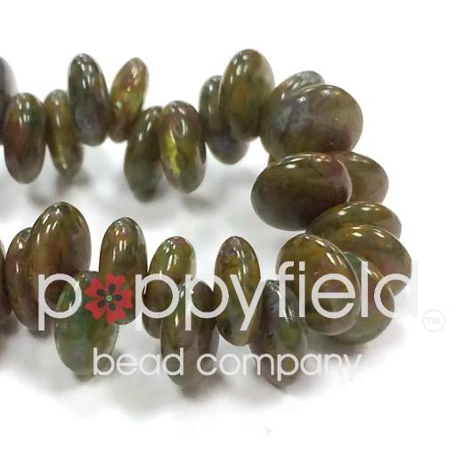 Czech Top-Hole Lentils, 6 mm, Green Picasso, 50 pcs