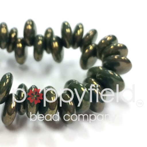 Czech Top-Hole Lentils, 6 mm, Golden Dark Turquoise, 50 pcs