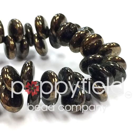 Czech Top-Hole Lentils, 6 mm, Black Bronze Picasso, 50 pcs