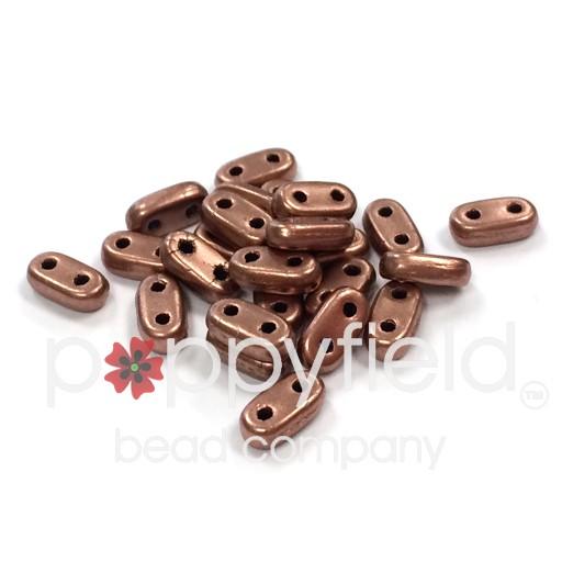 Czech CzechMate 2-Hole Bar Beads, 2x6 mm, Matte Metal Bronze Copper, 8g Tube