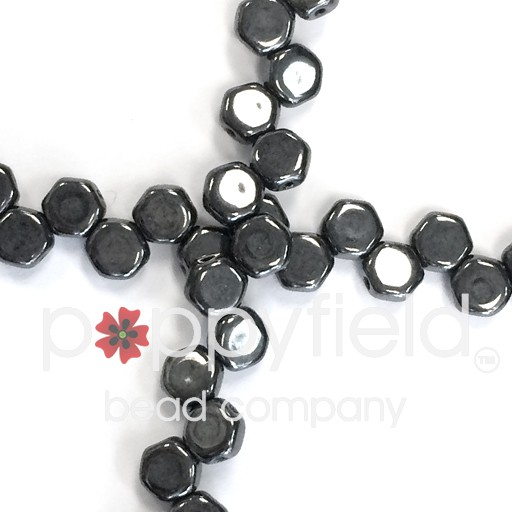 Czech 2-hole Honeycomb, 6 mm, Hematite, 30 pcs/strand