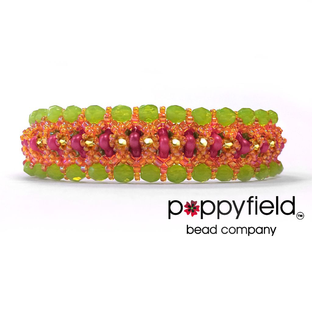 Local Trilogy Bracelet - Fiesta Colorway, by GoodQuillHunting.com, Bead Bundle & PDF Tutorial