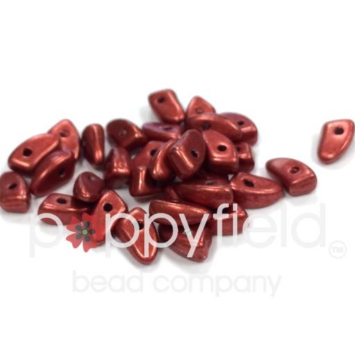Czech Prongs, 3 x 6 mm, Metallic Aurora Red, 10g