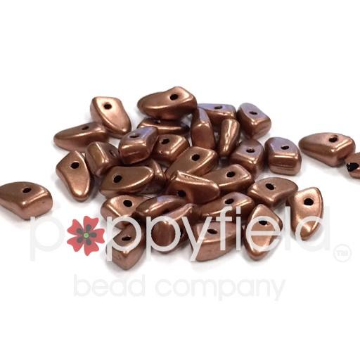 Czech Prongs, 3 x 6 mm, Matte Metallic Bronze Copper, 10g