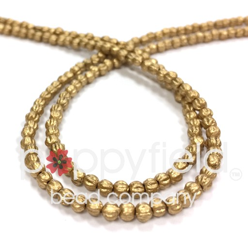 Czech Melon Rounds, 3 mm, Matte Metallic Flax, 100 Beads per Strand
