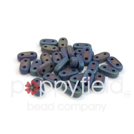 Czech CzechMate 2-Hole Bar Beads, 2x6 mm, Matte Iris Blue, 8g Tube