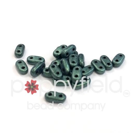 Czech CzechMate 2-Hole Bar Beads, 2x6 mm, Metallic Suede Light Green, 8g Tube