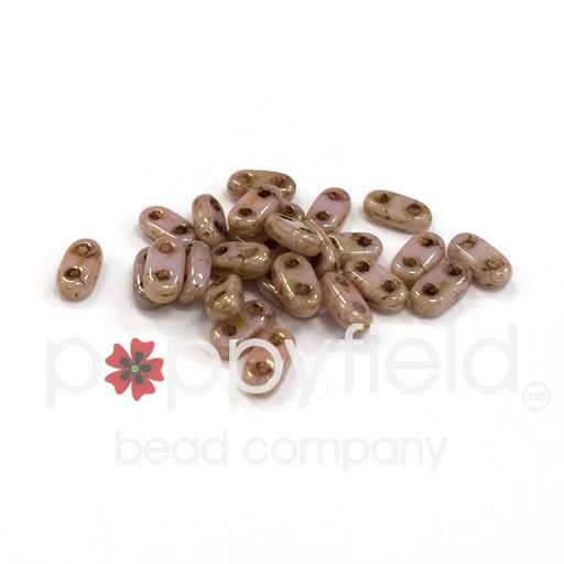 Czech CzechMate 2-Hole Bar Beads, 2x6 mm, Luster Opaque Rose Gold Topaz, 8g Tube