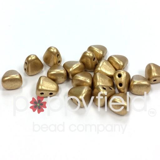 Czech NIB-BIT 2-Hole Beads, 6x5 mm, Bronze Pale Gold, 10g Tube