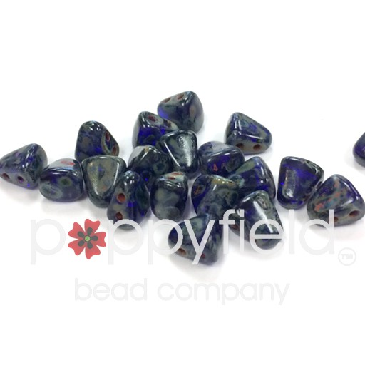 Czech NIB-BIT 2-Hole Beads, 6x5 mm, Cobalt Dark Travertine, 10g