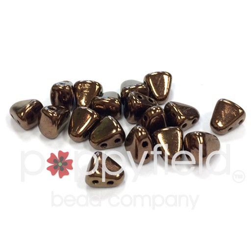 Czech NIB-BIT 2-Hole Beads, 6x5 mm, Dark Bronze, 10g Tube