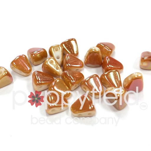 Czech NIB-BIT 2-Hole Beads, 6x5 mm, Full Apricot, 10g Tube