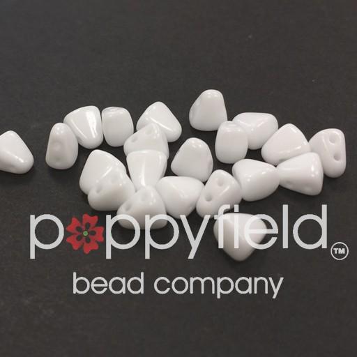 Czech NIB-BIT 2-Hole Beads, 6x5 mm, Chalk White, 10g Tube