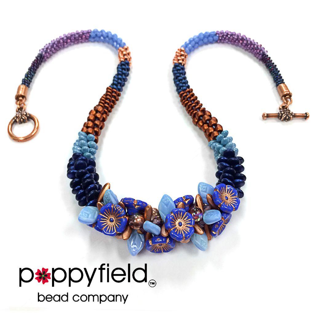 USA Rockin' Blossoms Kumi Necklace Kit, Cobalt / Copper  Colorway
