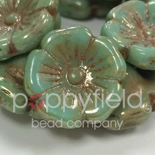 Czech Flower Button, 12x7 mm, Turquoise Picasso, 15 pcs