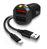 EFM EFM Car Charger 3.4A Dual USB With MFi Flipper Lightning Cable - Black