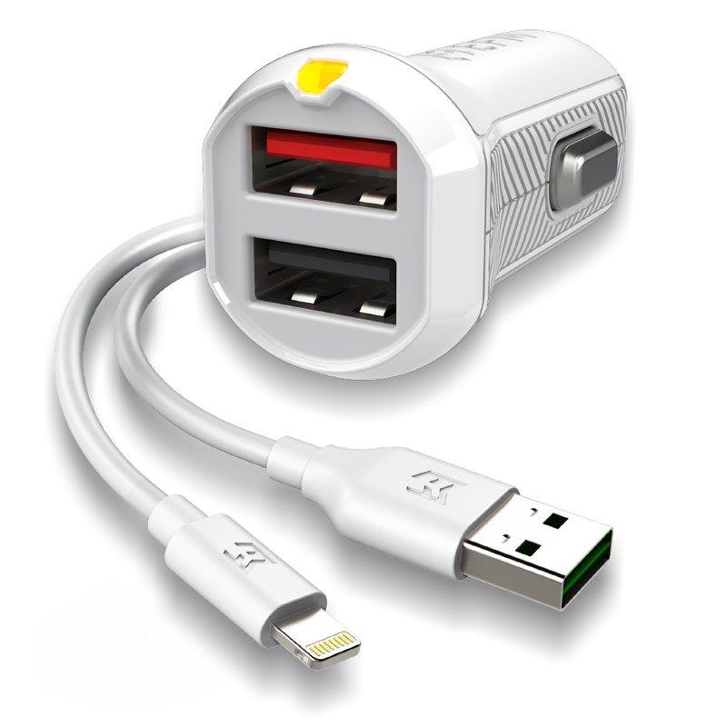 EFM EFM Car Charger 3.4A Dual USB With MFi Flipper Lightning Cable - White