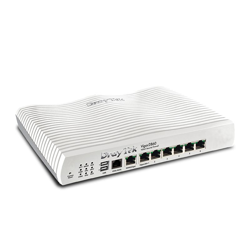 Draytek Draytek Vigor2860 - Quad WAN Firewall QoS IPv6 Router with VDSL2/ADSL2+, Gigabit, and 3G/4G USB WAN port for Load Balancing and Fail-over, 6 x Giga LANs, CSM, 32 x VPNs, 16 x SSL VPNs, and support Smart Monitor (30 nodes) & VigorACS SI