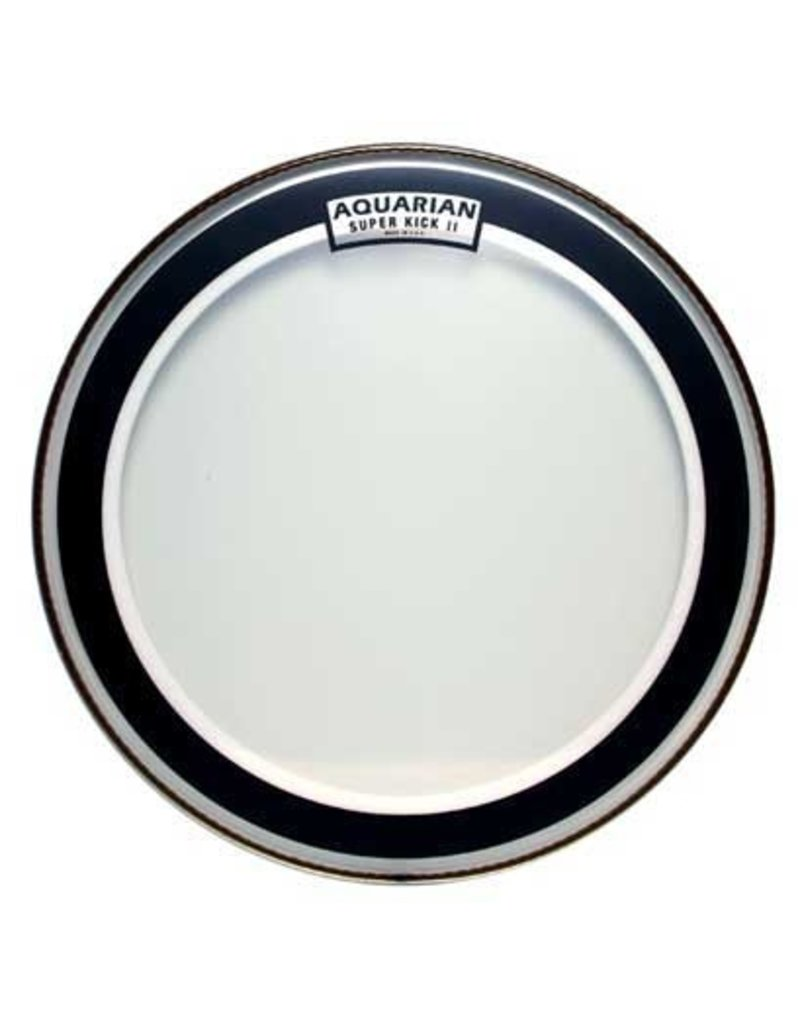 """Aquarian 22"""" Super Kick II Double Ply Clear Bass Drumhead with Ring"""