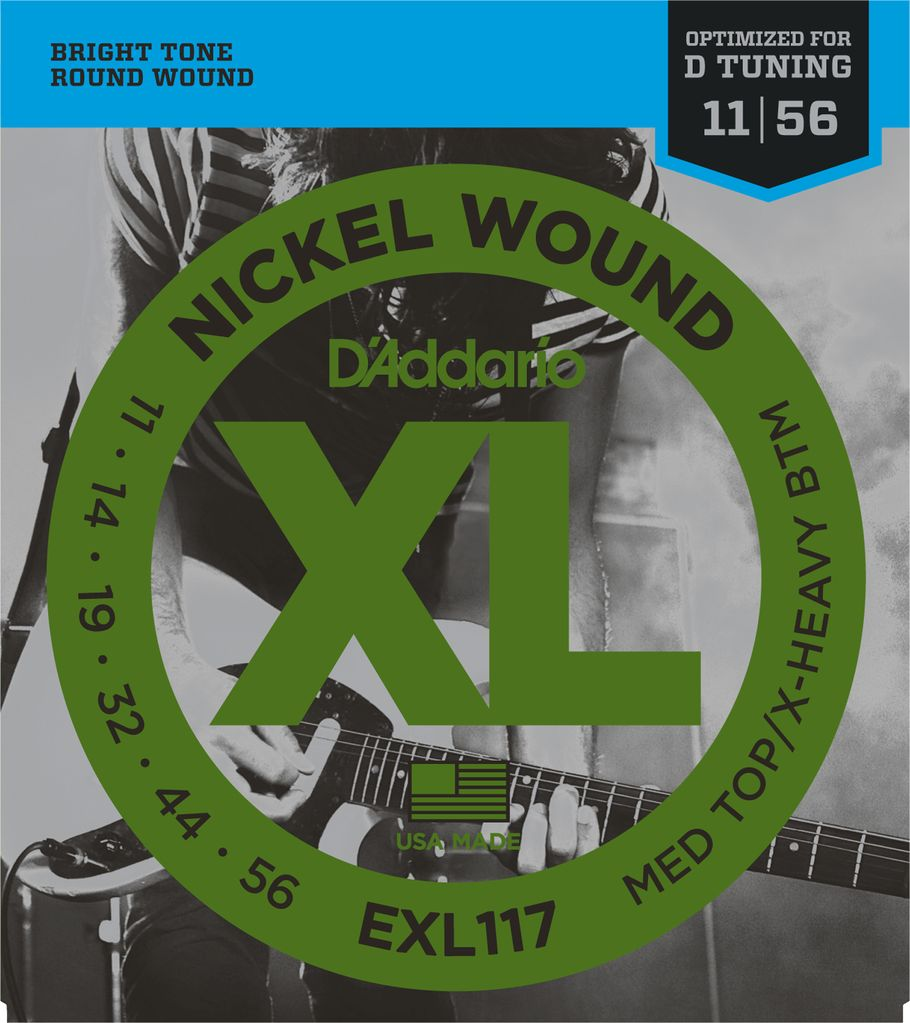 D'Addario EXL117 Nickel Wound Electric Guitar Strings Optimized for D Tunning