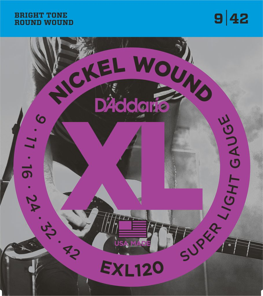 D'Addario EXL120 Nickel Wound Electric Guitar Strings - Super Light