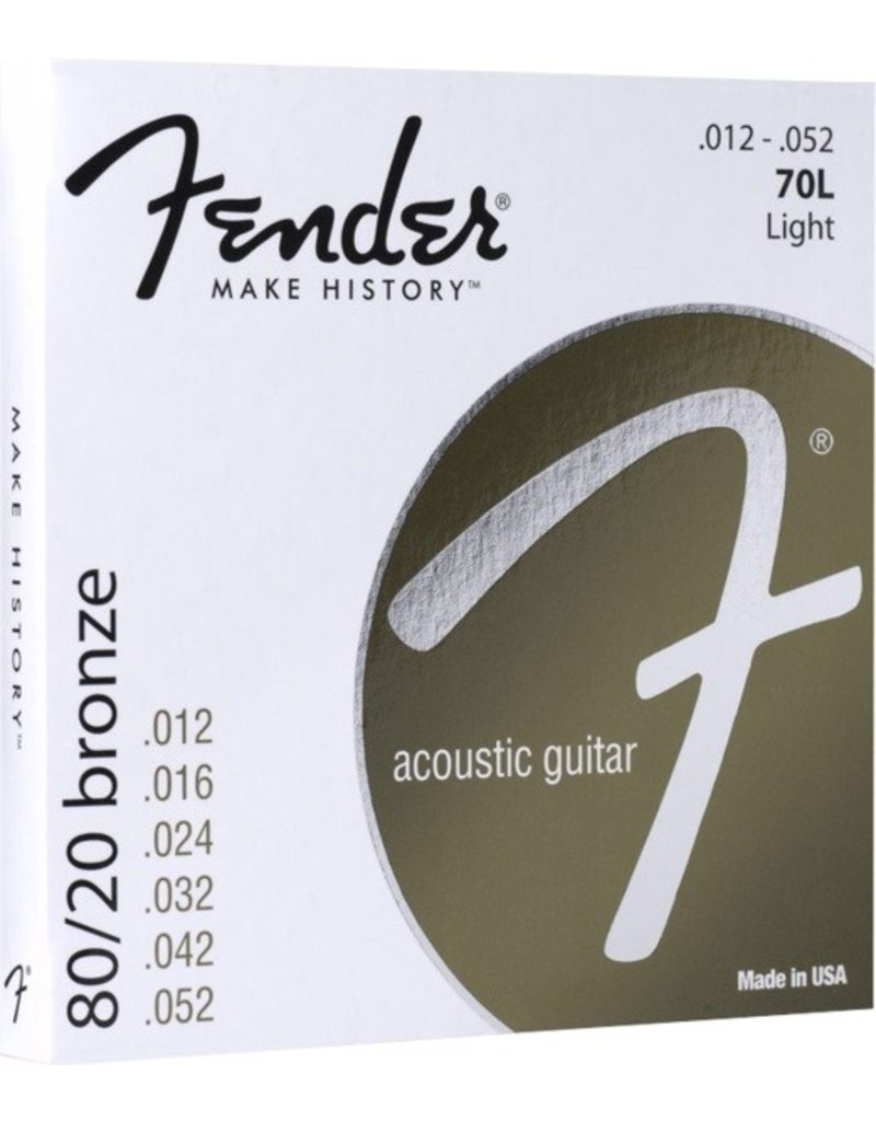 Fender 70L 80/20 Bronze Acoustic Guitar Strings - Light