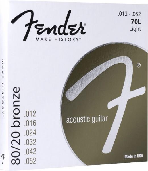 Fender 70L 80/20 Bronze Acoustic Guitar Strings - Light