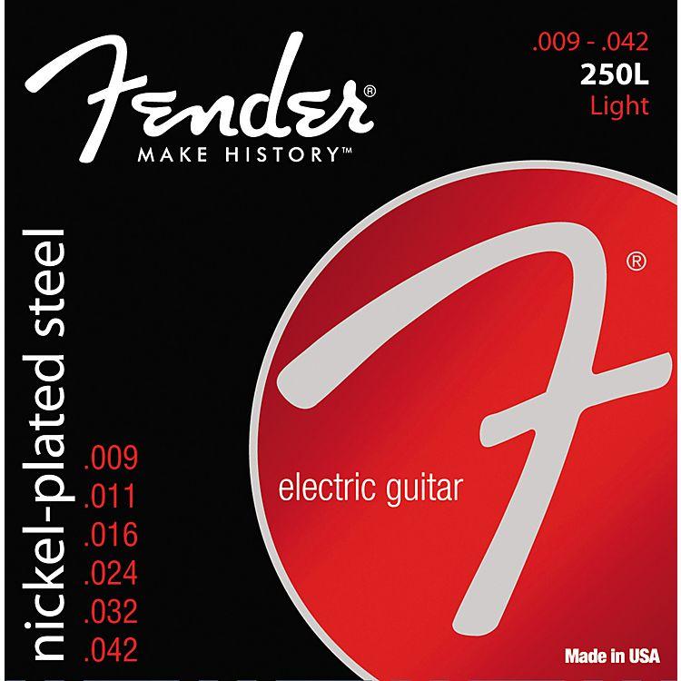 Fender .009-.042 Light Guage Electric Guitar Strings, Nickel-Plated Steel