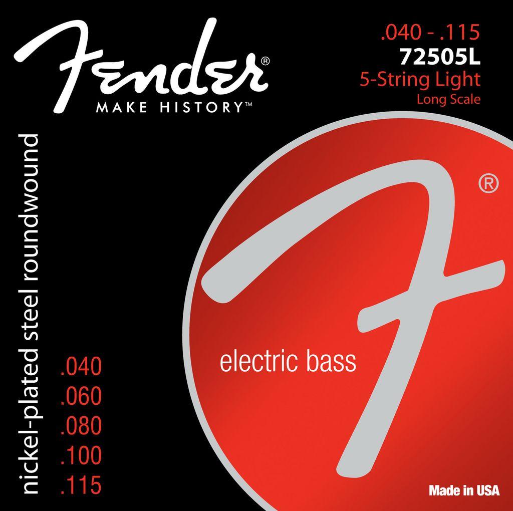 Fender 7250 Super Bass Strings, Nickel Plated Steel, Long Scale, 7250-5L .040-.115 Gauges, Set of 5