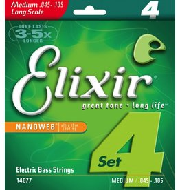 Elixir Nanoweb 14077 Medium Long Scale Electric Bass Strings-4 String