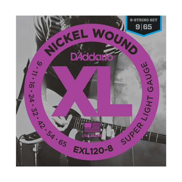 D'Addario EXL120-8 Nickel Wound 8-String Electric Guitar Strings - Super Light