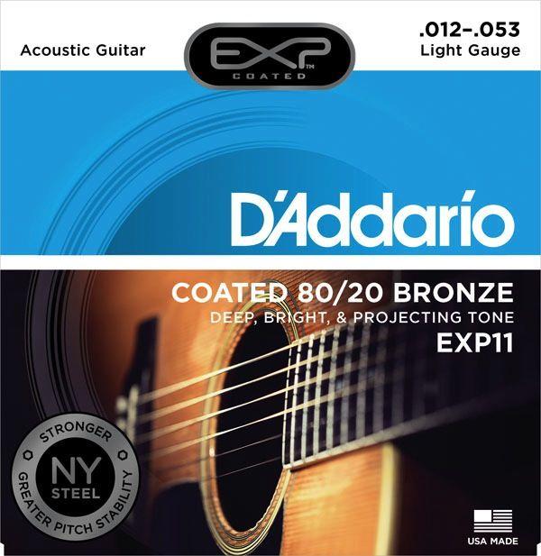 D'Addario EXP11 Coated 80/20 Bronze Acoustic Guitar Strings - Light