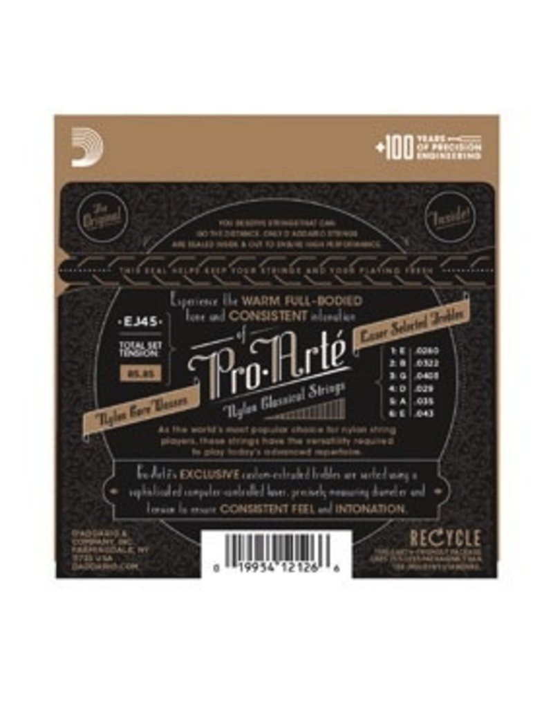 D'Addario EJ45 Clear Nylon Silverplated Wound Classical Guitar Strings Normal Tension