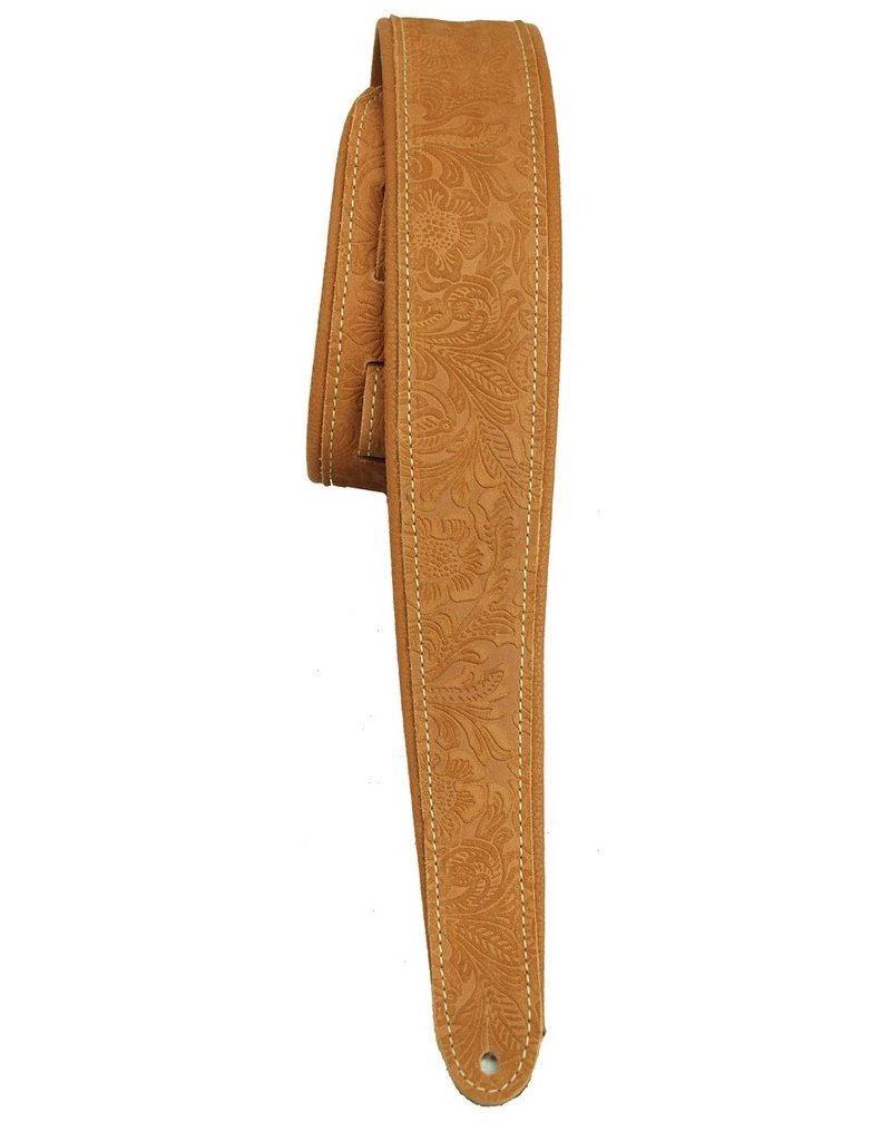 LM PM-3 Brown Western Embossed Guitar Strap