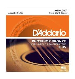 D'Addario EJ15 Phosphor Bronze Acoustic Guitar Strings - Extra Light