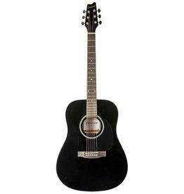 Denver Folk Acoustic Guitar w/Gig Bag-Black