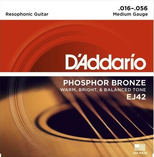 D'Addario EJ42 Phosphor Bronze Resophonic Guitar Strings - Medium
