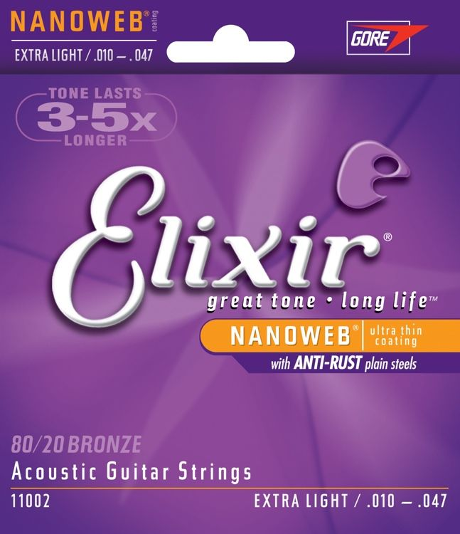 .010-.047 Extra Light Acoustic Guitar Strings, 80/20 Bronze, Nanoweb