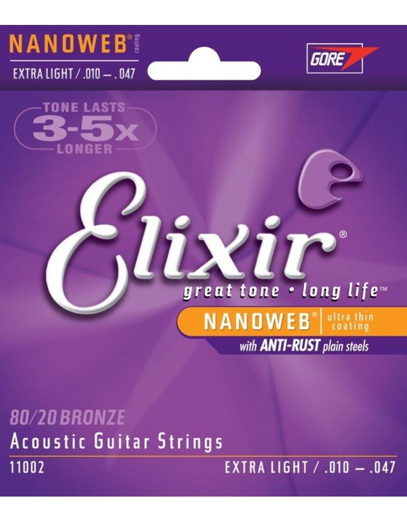 Elixir 11002 Nanoweb 80/20 Bronze Acoustic Guitar Strings - Extra Light