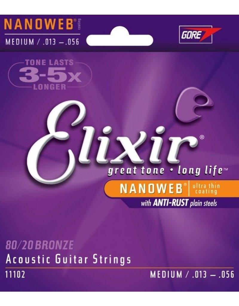 Elixir E11102 Nanoweb 80/20 Bronze Acoustic Guitar Strings - Medium