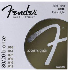 Fender .010-.048 Extra Light Gauge Acoustic Guitar, 80/20 Bronze