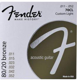 Fender .011-.052 Custom Light Acoustic Guitar Strings, 80/20 Bronze