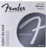 Fender .028-.043 Medium Gauge Nylon Acoustic Strings, 100 Clear/Silver, Tie End