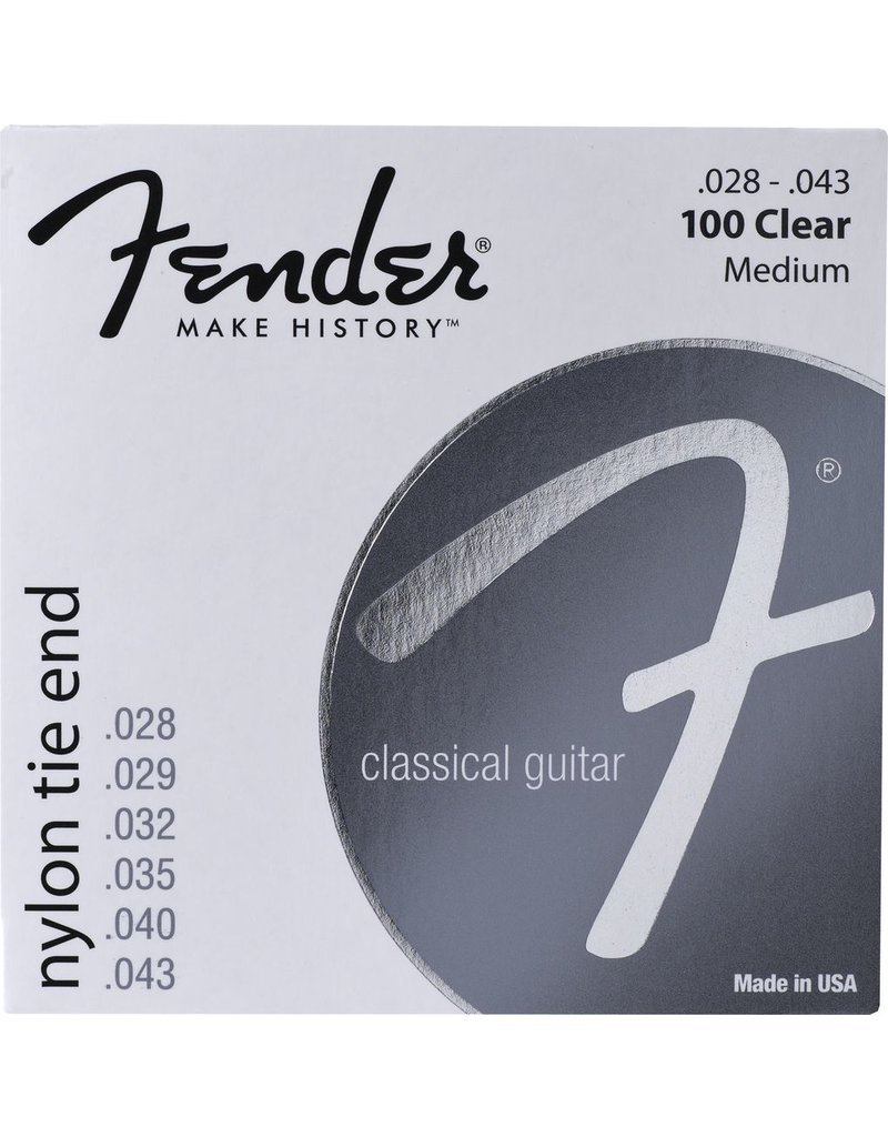 Fender 100Clear Nylon Acoustic Strings Tie End - Medium